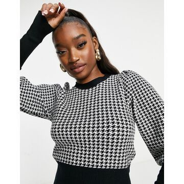 QED London cropped sweater in houndstooth-Multi