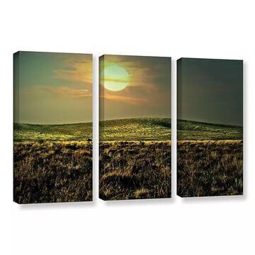 ArtWall Corner Pocket Canvas Wall Art 3-piece Set, Green, 36X54