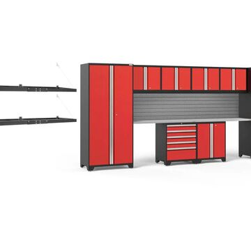 NewAge Products Pro Series 184-in W x 85.25-in H Deep Red Steel Garage Storage System Stainless Steel | 54335