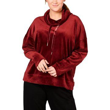 Calvin Klein Performance Women's Plus Size Velour Drawstring Sweatshirt