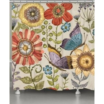 Laural Home Boho Butterfly Shower Curtain Bedding