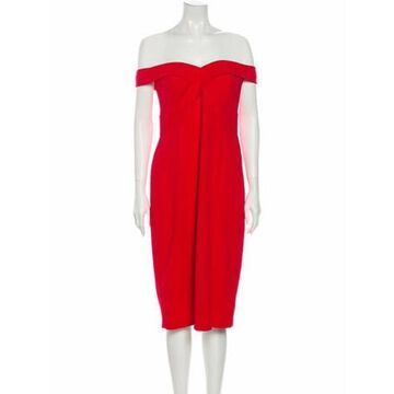 Off-The-Shoulder Knee-Length Dress w/ Tags Red