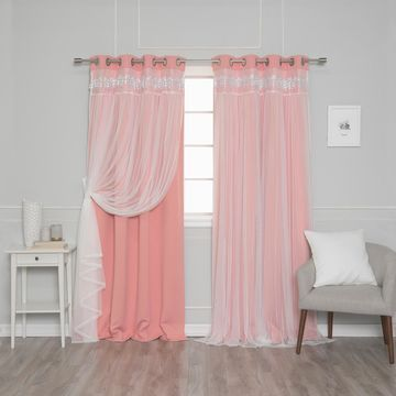 Aurora Home Falling Hearts Tulle Overlay Blackout Curtain Panels