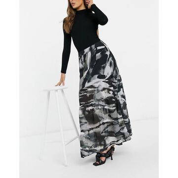 Religion midi skirt in abstract print-Multi
