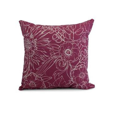 Simply Daisy, 26 x 26 Inch, Zentangle 4, Floral Print Pillow, Pink