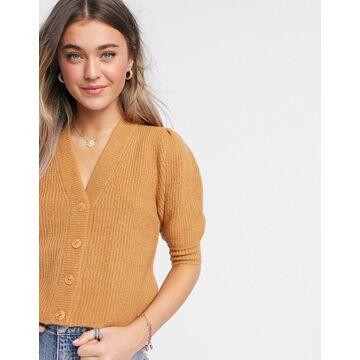 Monki Puffy fluffy rib short sleeve cardigan in beige-Brown