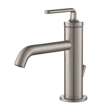 Kraus Spot Free Stainless Steel 1-Handle Single Hole WaterSense Bathroom Sink Faucet with Drain
