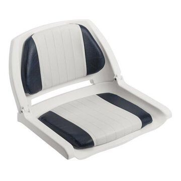 Wise 8WD139LS-014 Cushioned Fold-Down, Molded Fishing Seat, White / Navy