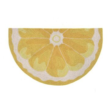 Liora Manne Frontporch Lemon Slice Indoor Outdoor Rug, Yellow, 3Ft Rnd