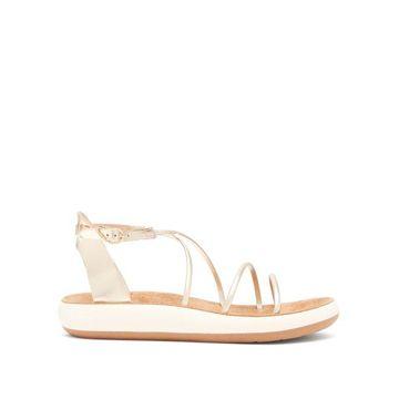Ancient Greek Sandals - Anastasia Metallic Leather Sandals - Womens - Gold