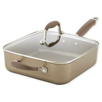 Anolon Advanced Nonstick 4 qt. Hard-Anodized Covered Square Saute Pan in Umber