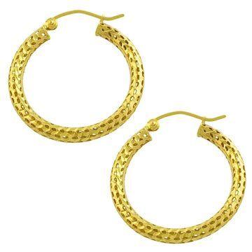 Fremada 14k Yellow Gold Laser-cut Tube Hoop Earrings (hoop)