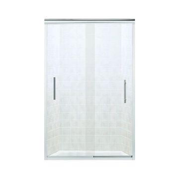 Sterling Finesse 70.0625-inFrameless Sliding Silver Shower Door (Clear Glass) | 547808-48S-G05