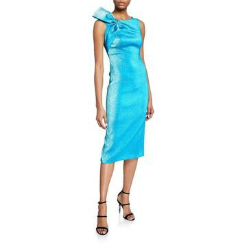 Metallic Boat-Neck Dress with Shoulder Bow Detail