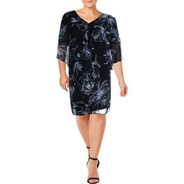 Connected Apparel Womens Plus Sheer Printed Wear to Work Dress