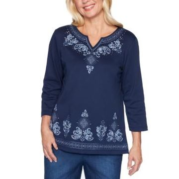 Alfred Dunner Autumn Harvest Embroidered Top