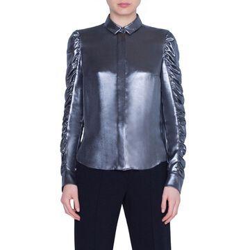 Metallic Crepe Ruffle-Sleeve Blouse