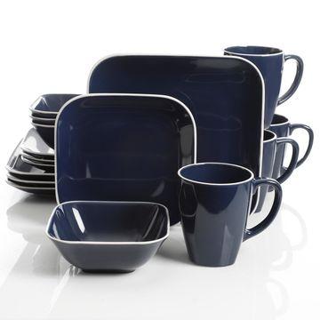 Square Dance 16-piece Cobalt Dinnerware Set