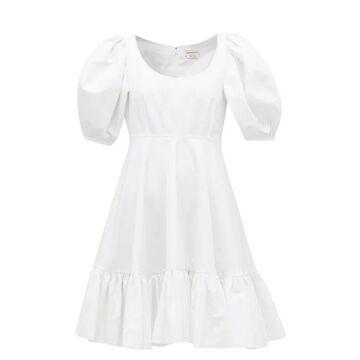 Alexander Mcqueen - Puff-sleeve Gathered Cotton Mini Dress - Womens - White