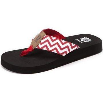 Yellow Box Womens Yulisa Fashion Flip Flop Sandals,Red,7.5