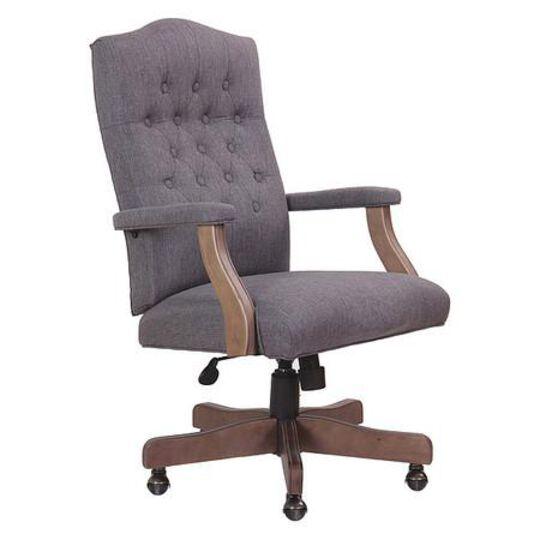 Executive Slate Grey Linen Chair Wi