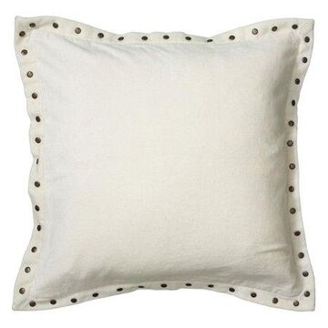 Rizzy Home Velvet With Antique Brass Metal Studs On Flange Decorative Throw Pillow, 18