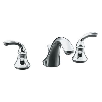 KOHLER Forte Polished Chrome 2-handle Widespread WaterSense Bathroom Sink Faucet with Drain | 10272-4-CP