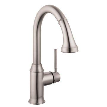 Hansgrohe HG Kitchen Steel Optik 1-Handle Deck-Mount Pull-Down Handle Kitchen Faucet
