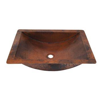 Novatto Merida Copper Copper Drop-In or Undermount Rectangular Bathroom Sink (Drain Included) (16-in x 22-in)