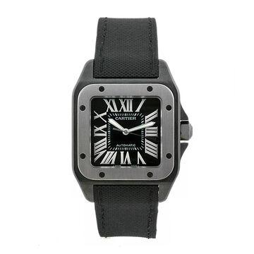 Cartier Men's Santos 100 Black Toile De Voile Black Dial Watch