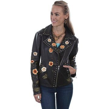 Scully L348-11-XS Floral Embroidered Jacket, Black Lamb - Extra Small