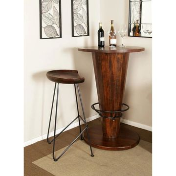 Modern 32 x 17 Inch Wood and Iron Bar Stool by Studio 350