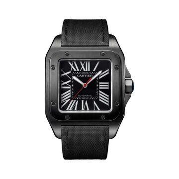 Cartier Men's WSSA0006 'Santos 100' Automatic Black Fabric Watch