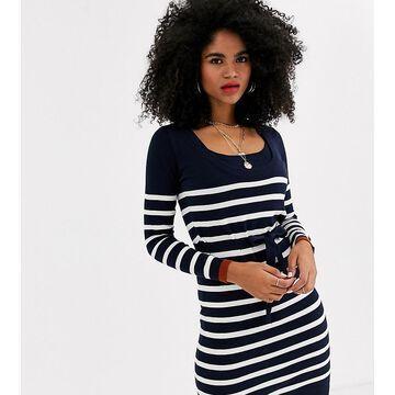 Mamalicious Maternity nursing knitted sweater dress in navy stripe-Multi