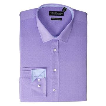 Nick Graham Texture Weave Stretch Dress Shirt (Purple) Men's Long Sleeve Button Up