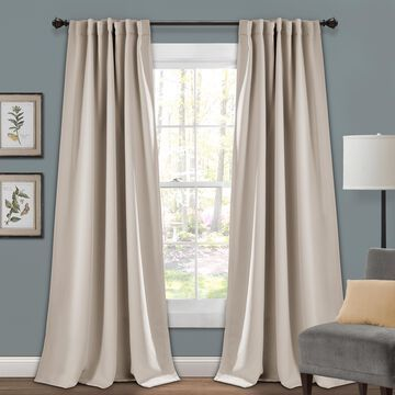 """Lush Decor Insulated Back Tab Blackout 95"""" x 52"""" Solid Wheat 100% Polyester 3"""" Back Tab Rod Pocket Pair Window Panel"""