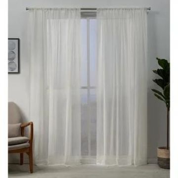 ATI Home Hemstitch Sheer Embellished Rod Pocket Top Curtain Panel Pair (Snowflake - 96 Inches - 54 x 96)