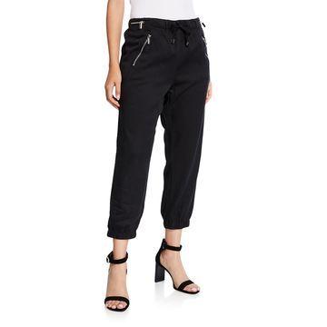 Cropped Jogger Pants w/ Zip Pockets