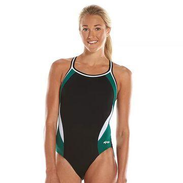 Women's Dolfin Team Colorblock DBX Back Competitive One-Piece Swimsuit, Size: 22 COMP, Green