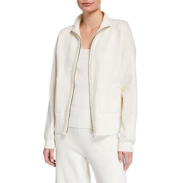 Plus Size Pearlescent Trim Zip-Front Sweater Jacket