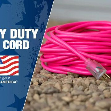 Southwire 100-ft 12/3 3-Prong Outdoor SJTW Heavy Duty Lighted Extension Cord in Pink | 2579SW000A