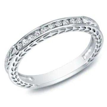 Auriya 10k Gold 1/8ctw Vintage Carved Diamond Wedding Band (White - 9)