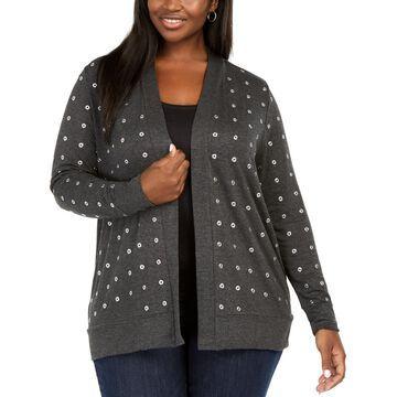 Black Label Plus Size Grommet Cardigan