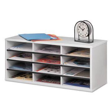 Particle Board Desktop Sorter, 12 Sections, 29 x 11 7/8 x 12 15/16, Dove Gray
