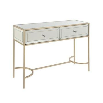 ACME Wisteria Sofa Table in Mirrored and Rose Gold