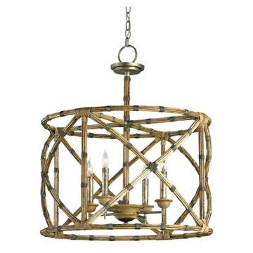 Currey and Company 9694 Palm Beach 4 Light Chandelier - Bronze
