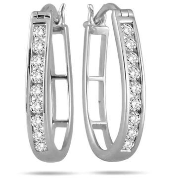 Marquee Jewels 10k White Gold 1/2ct TDW Round Diamond Hoop Earrings (White)