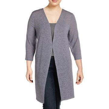 Kasper Womens Plus Cardigan Top 3/4 Sleeves Open-Front