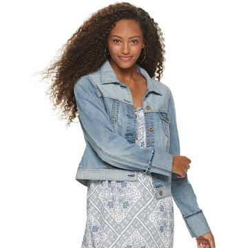 Juniors' American Rag Pieced Trucker Denim Jacket