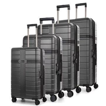 Bugatti Hamburg Hard Side 3-Piece Luggage Set, Grey, 3 Pc Set